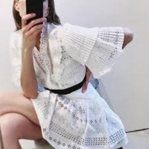 SELF-PORTRAIT Broderie Anglaise Stripe White Dress